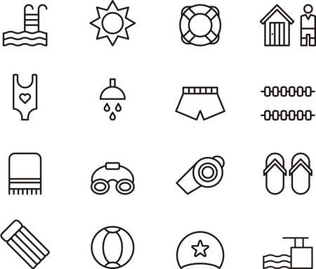 lifeline: SWIMMING POOL outline icons