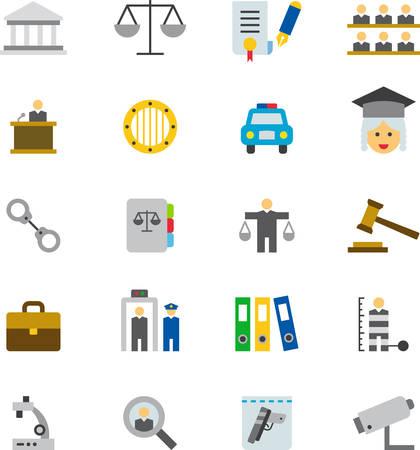 enforcement: JUSTICE & LAW ENFORCEMENT icons Illustration