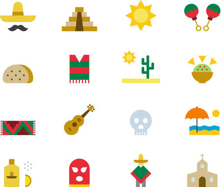 MEXICO colored icons Vectores