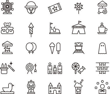 park: AMUSEMENT PARK outline icons