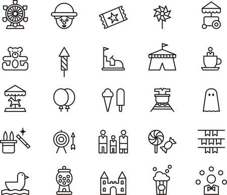 AMUSEMENT PARK outline icons