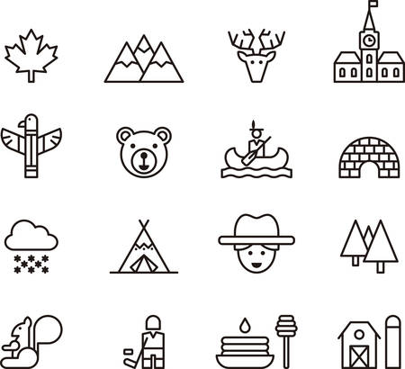 maple syrup: CANADA outline icons Illustration