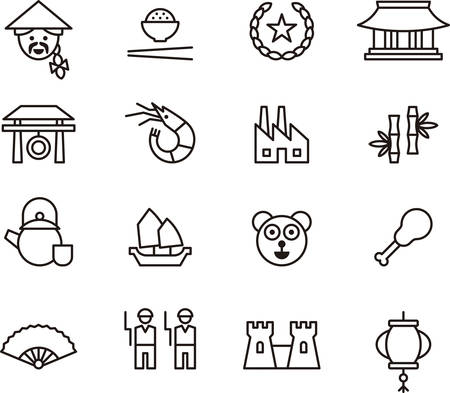 CHINA outline icons