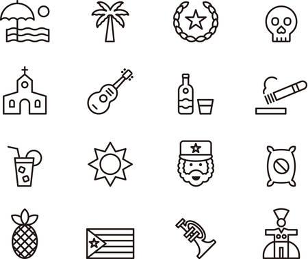 cuban cigar: CUBA outline icons