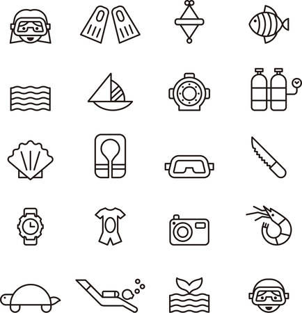 sports shell: DIVING outline icons Illustration