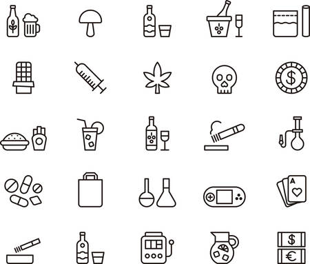 weed: DRUGS & ADDICTIONS outline icons