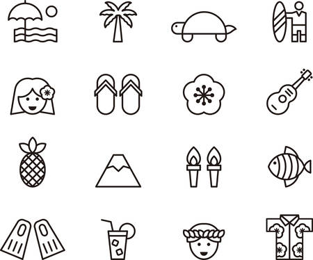 surfboard fin: HAWAII outline icons