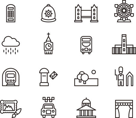 LONDON outline icons Illustration