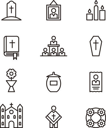 religion: DEATH & FUNERAL outline icons