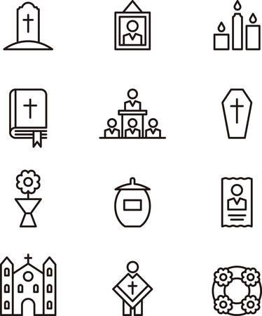 religion catolica: Muerte y FUNERAL iconos de esquema