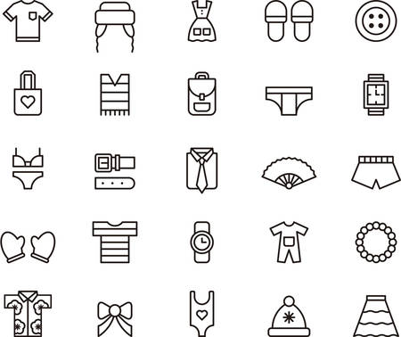 CLOTHES & ACCESSORIES outline icons