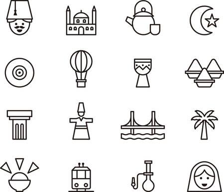 anatolian: TURKEY outline icons Illustration