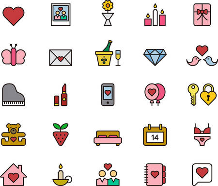 marriage bed: LOVE filled outline icons Illustration