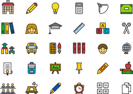 thin bulb: SCHOOL filled outline icons