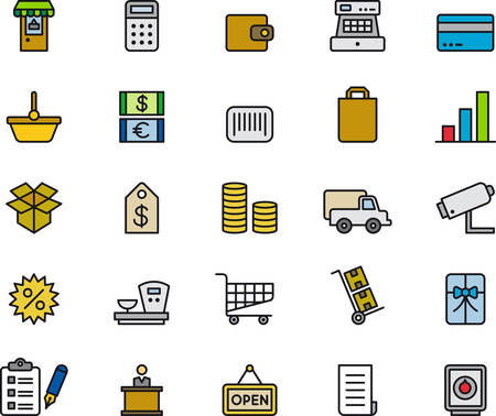 bank cart: SHOOPING colored and outlined icons Illustration