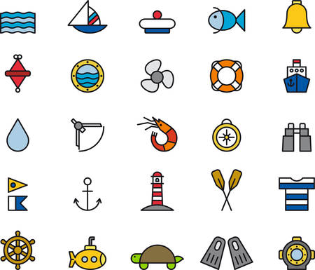 life jackets: MARINE & NAUTICAL colored and outlined icons