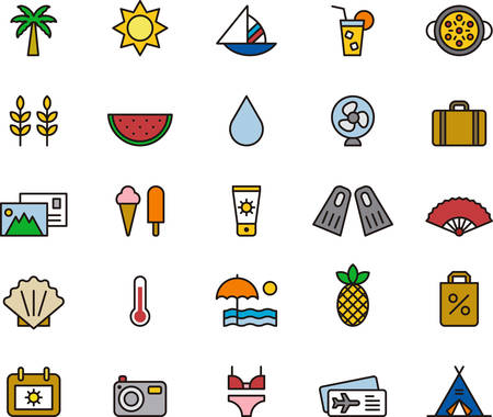 watermelon boat: SUMMER colored and outlined icons