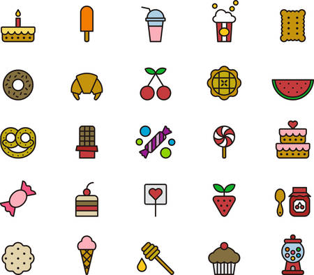 SWEETS & CANDY colored and outlined icons Vettoriali