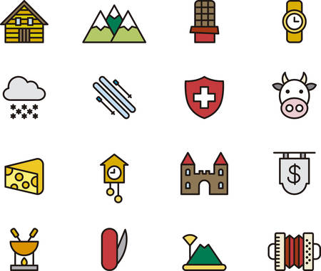 swiss alps: SWITZERLAND filled outline icons