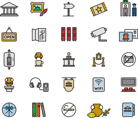 museum: MUSEUM colored and outlined icons