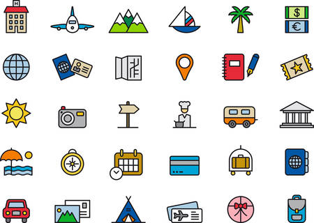TRAVEL colored and outlined icons Illustration