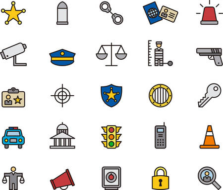 enforcement: Police & Law Enforcement colored and outlined icons