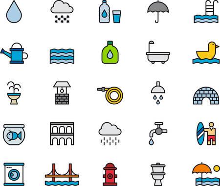 EAU LIÉS icônes colorées et décrites