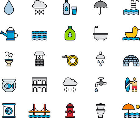 WATER RELATED colored and outlined icons