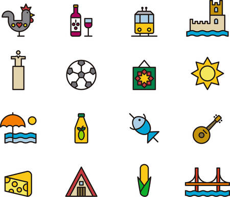port wine: PORTUGAL colored and outlined icons