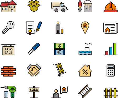 ladder  fence: REAL ESTATE colored and outlined icons