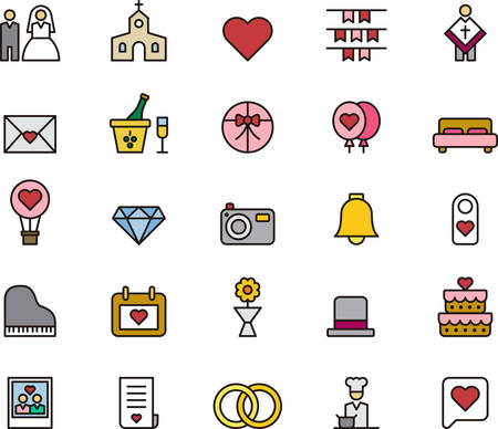 wedding love: WEDDING & LOVE colored and outlined icons Illustration