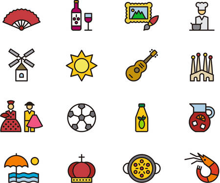spaniard: SPAIN filled outline icons