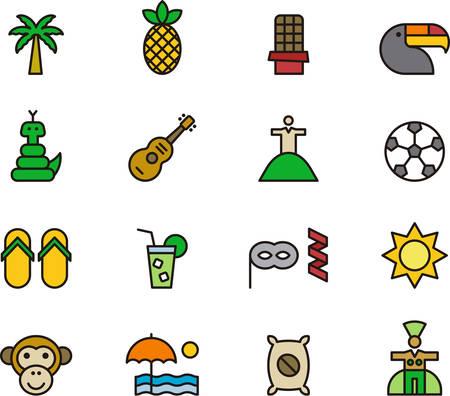 BRAZIL filled outline icons