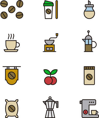is outlined: COFFEE outlined and colored icons Illustration
