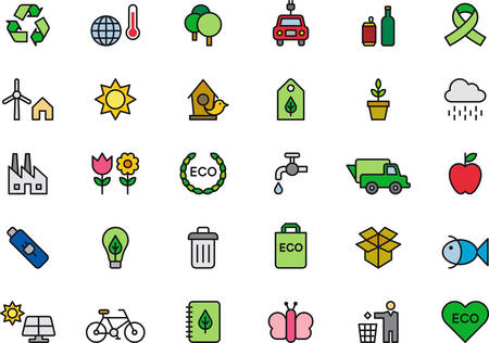 organic waste: ENVIRONMENTAL outlined and colored icons