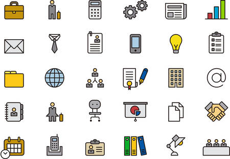 BUSINESS filled outline icons Stock Illustratie