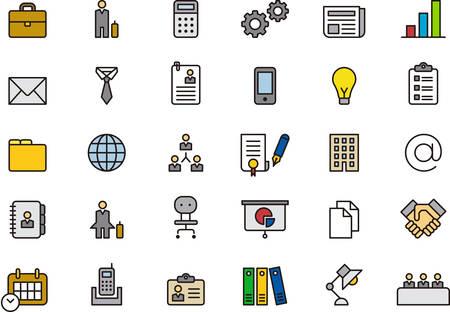 BUSINESS filled outline icons Illustration
