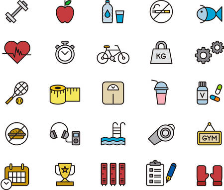 boxing tape: GYM & HEALTH CARE outlined and colored icons Illustration