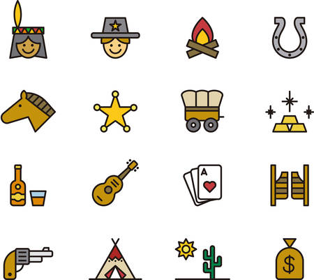 FAR WEST outlined and colored icons