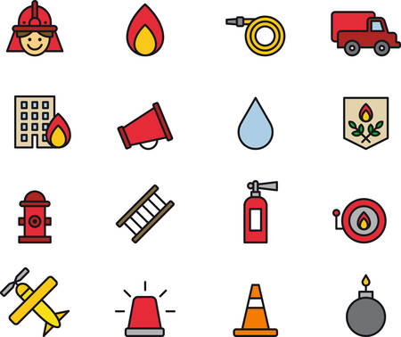 firefighting: FIREFIGHTING outlined and colored icons