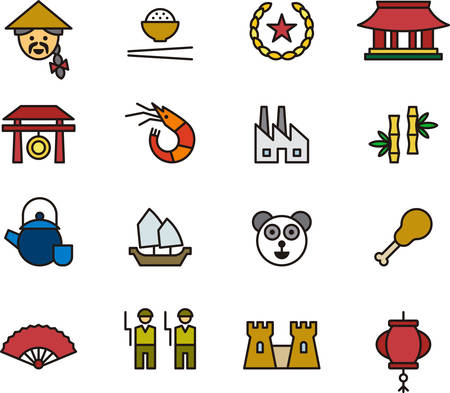 beijing: CHINA outlined and colored icons