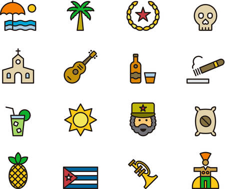 havana cigar: CUBA outlined and colored icons