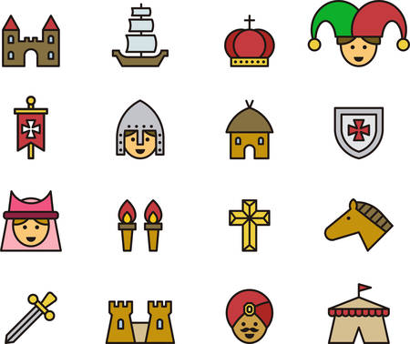 troubadour: MEDIEVAL outlined and colored icons