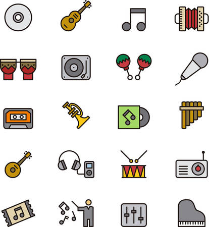 outlined: MUSIC outlined and colored icons Illustration