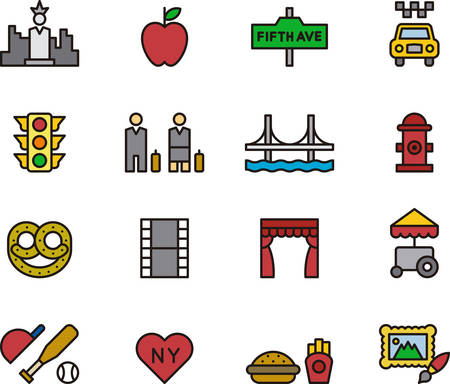 NEW YORK outlined and colored icons Illustration