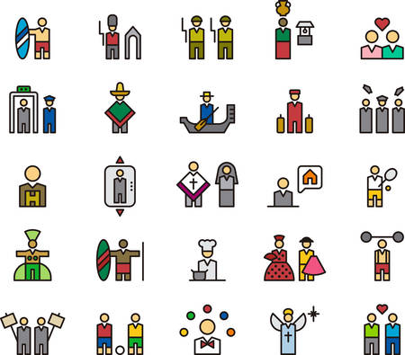 nun: PEOPLE outlined and colored icons