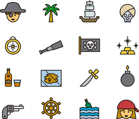 PIRATE outlined and colored icons