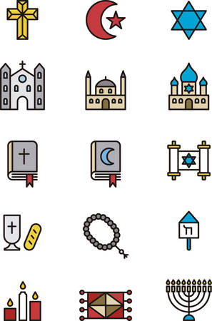 chanukiah: RELIGIONS outlined and colored icons