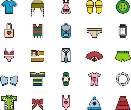 skinny: CLOTHES & ACCESSORIES outlined and colored icons