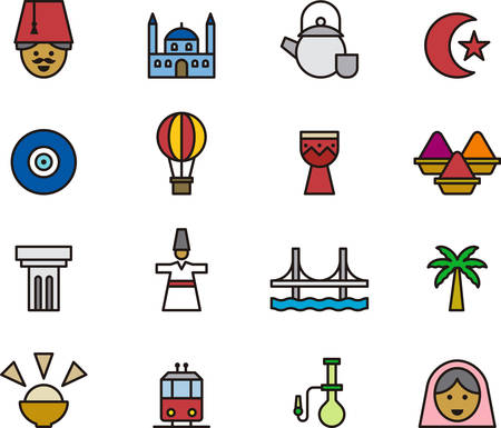 anatolian: TURKEY outlined and colored icons